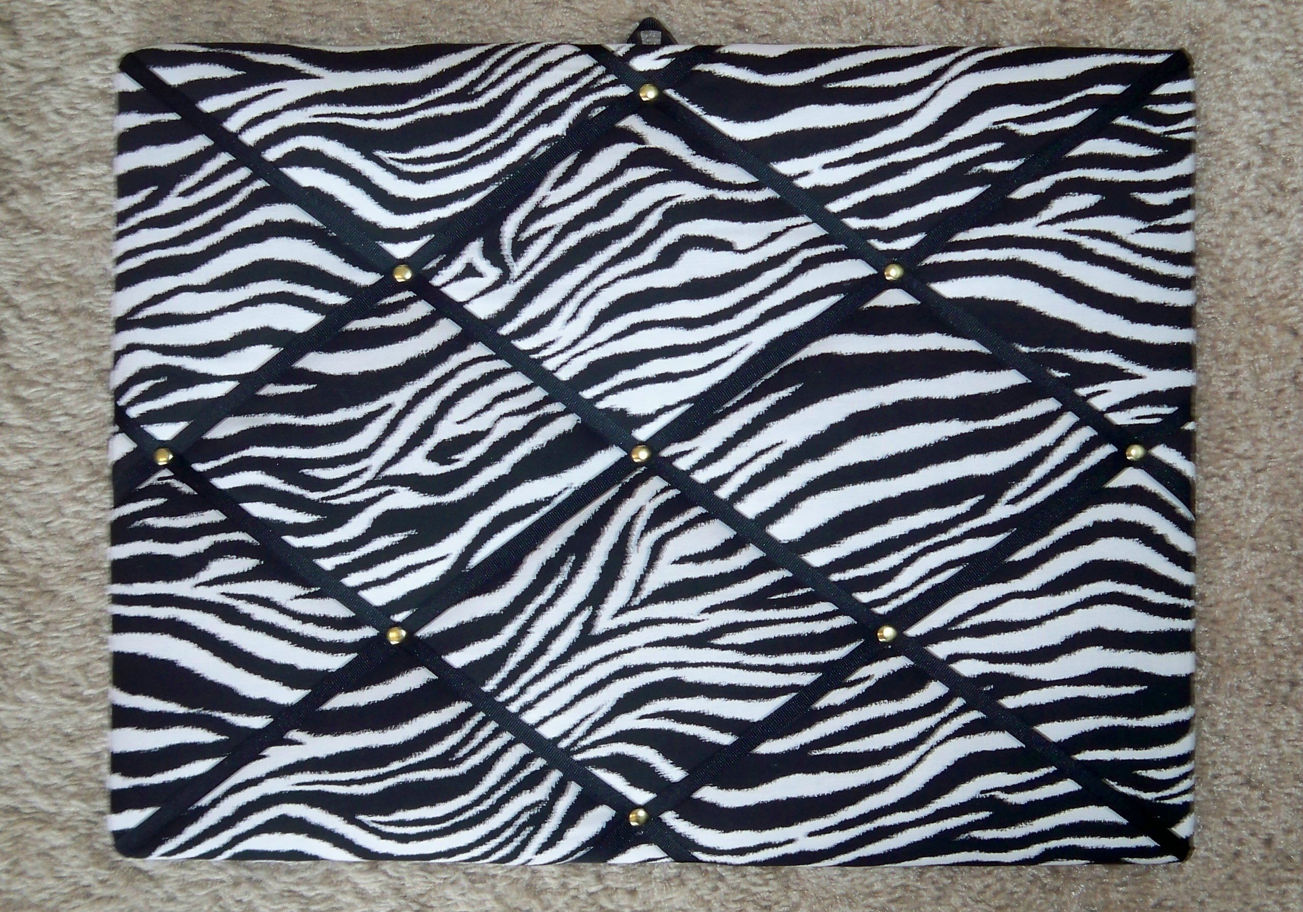 Zebra with Black Ribbon French / Memo Board by toycatz creations