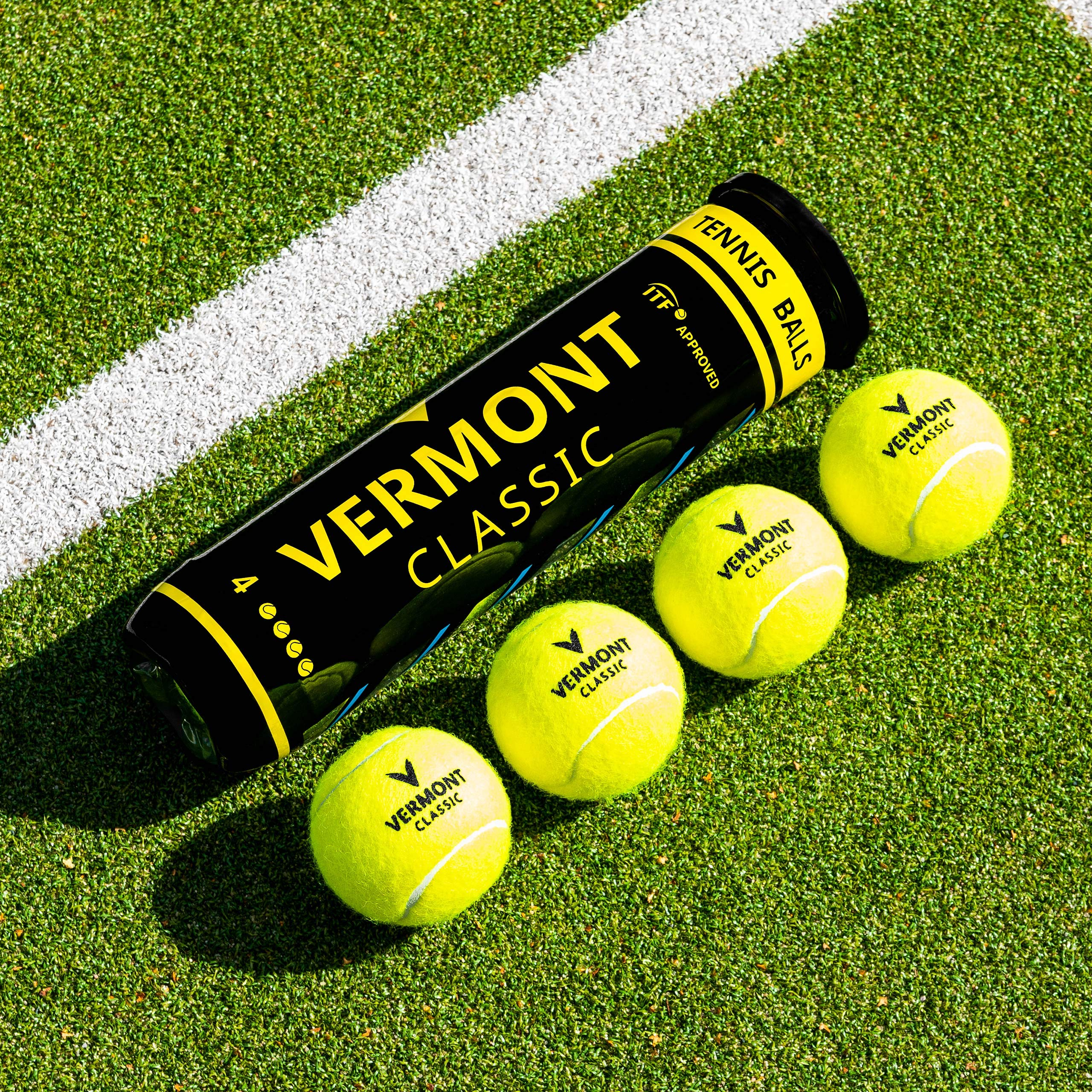 Vermont Classic Tennis Balls – FluroFelt Woven Cloth - High Performance DuraCore Rubber – ITF Approved – Extremely Durable - Suitable for Any Playing Surface (1 Can / 4 Balls)
