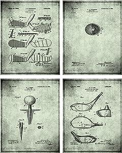 TheNameStore Golf Patent Print Wall Art - Set of Four Fine Art Photos 8x10 Unframed - Great Gift for Golfers Decor (Slate)