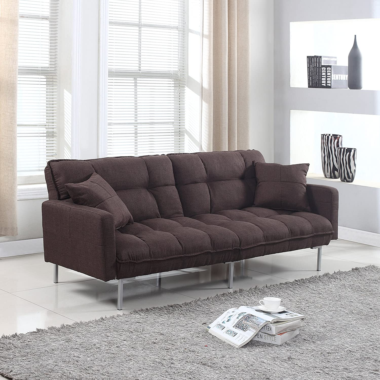 Amazon Modern Plush Tufted Linen Fabric Sleeper Futon