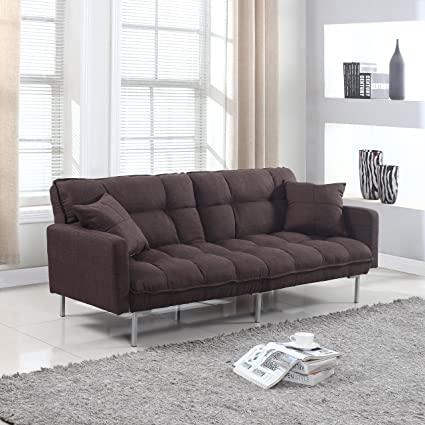 modern plush tufted linen fabric sleeper futon amazon    modern plush tufted linen fabric sleeper futon      rh   amazon