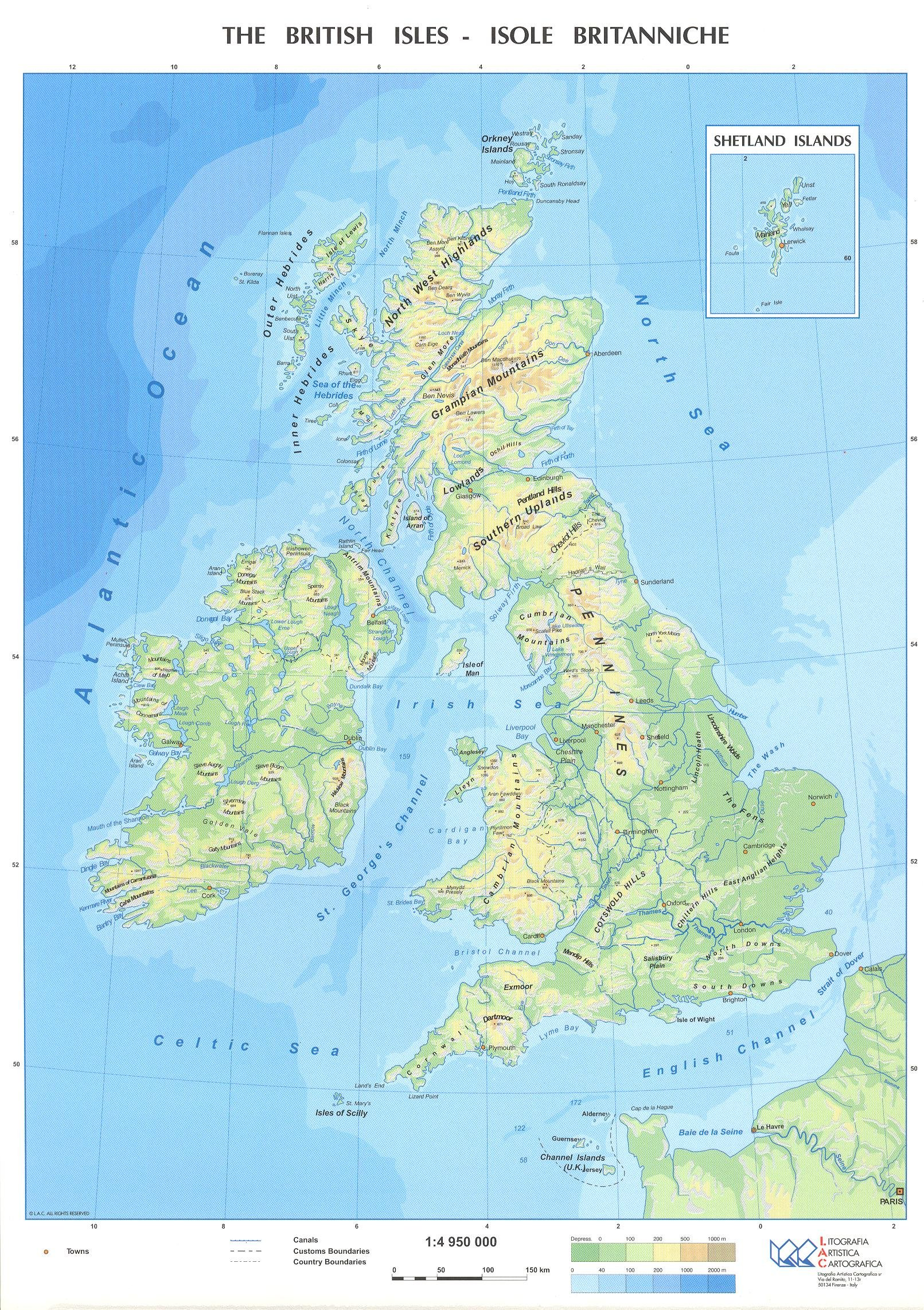 Bristish Isles Physical Political Student S Desktop Map 12 X 8