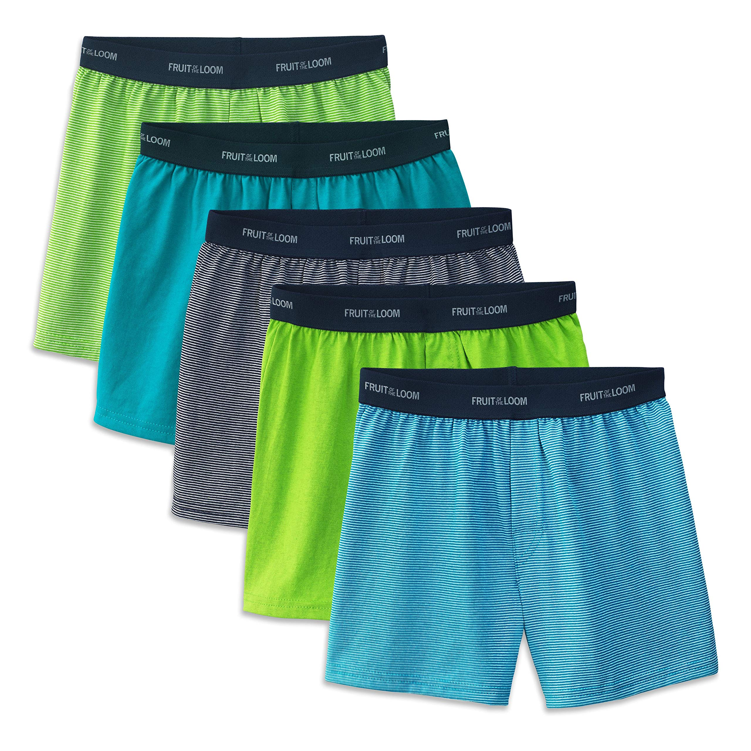 Fruit of the Loom Boys' Big 5 Pack Knit Boxer, Assorted, L by Fruit of the Loom