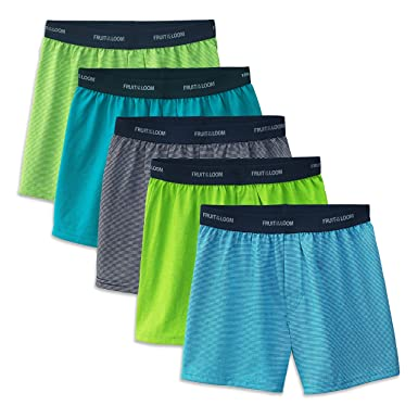 1dcc55467ac2f5 Amazon.com: Fruit of the Loom Big Boys' 5 Pack Knit Boxer: Clothing