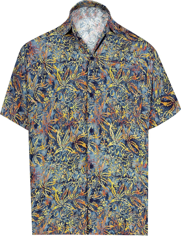 HAPPY BAY 3D Men Blouse Button Down Front Pocket Hawaiian Wear Shirt Camp Party