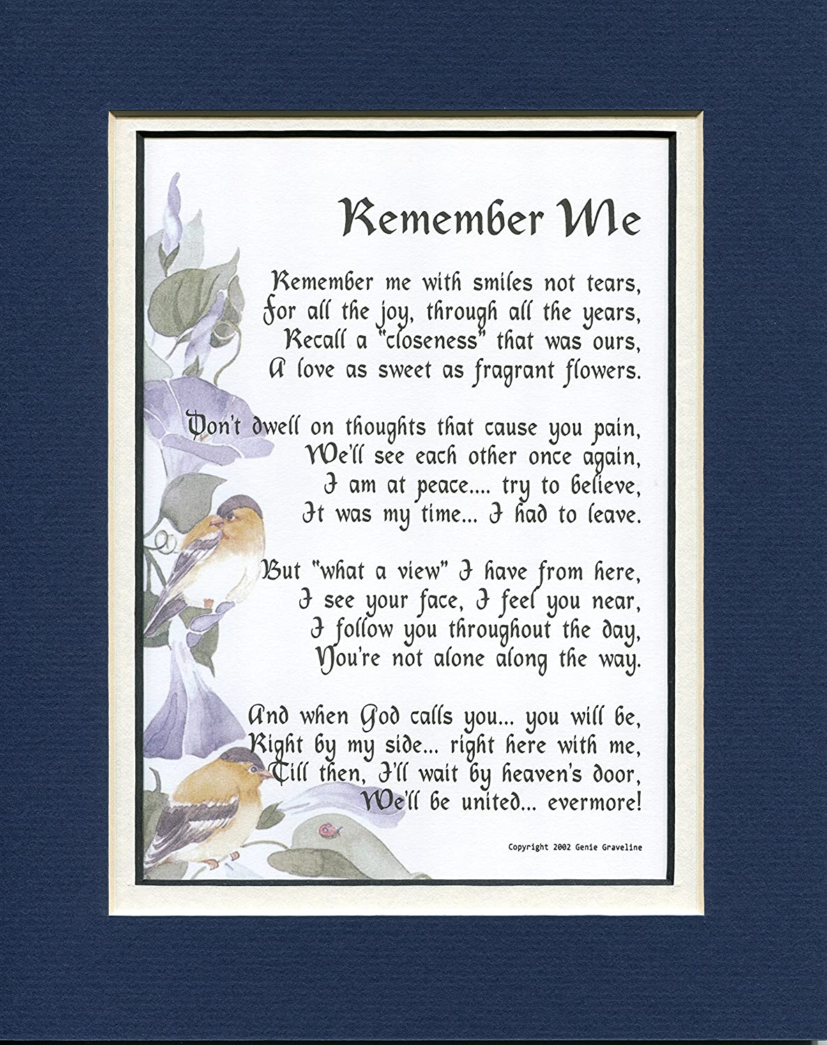 Amazon memorial gift 96 touching 8x10 bereavement poem amazon memorial gift 96 touching 8x10 bereavement poem double matted in navywhite enhanced with watercolor graphics a sympathy gift izmirmasajfo