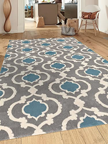 Moroccan Trellis Contemporary Gray Blue 9 x 12 Indoor Area Rug