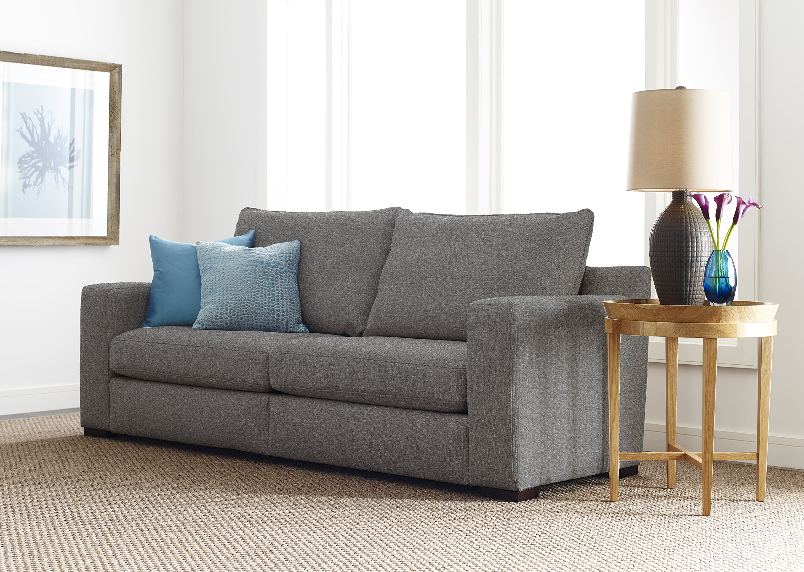 "Serta Geneva 78"" Sofa in Cozy Gray - Perfect sofa for small living spaces Trendy wide track Arm and low Back Choose from two neutral colors to match your decor - sofas-couches, living-room-furniture, living-room - A1q0B54bFLL -"