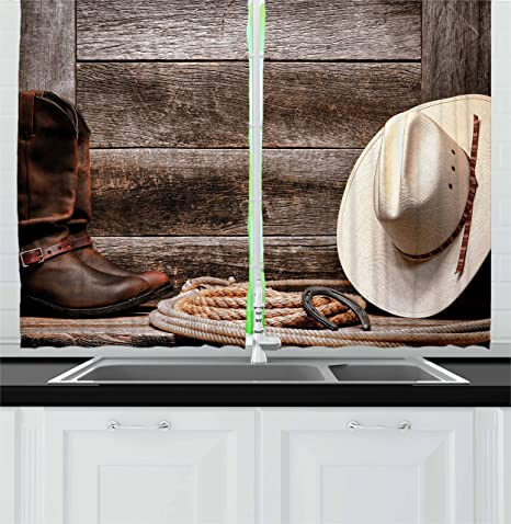 Ambesonne Western Kitchen Curtains American Rodeo Items Lasso Hat Boots Horseshoe Rustic Wooden House Window Drapes 2 Panel Set For Kitchen Cafe Decor 55 X 39 Brown Cream Home Kitchen