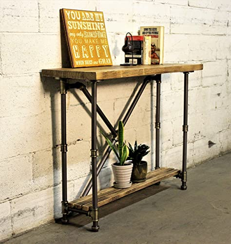 FURNITURE PIPELINE Industrial 2-Tier Pipe Console-Sofa Hall Table, Metal and Reclaimed Aged Wood Finish, Grey Steel Pipes and Brass Fittings with Natural Stained Wood