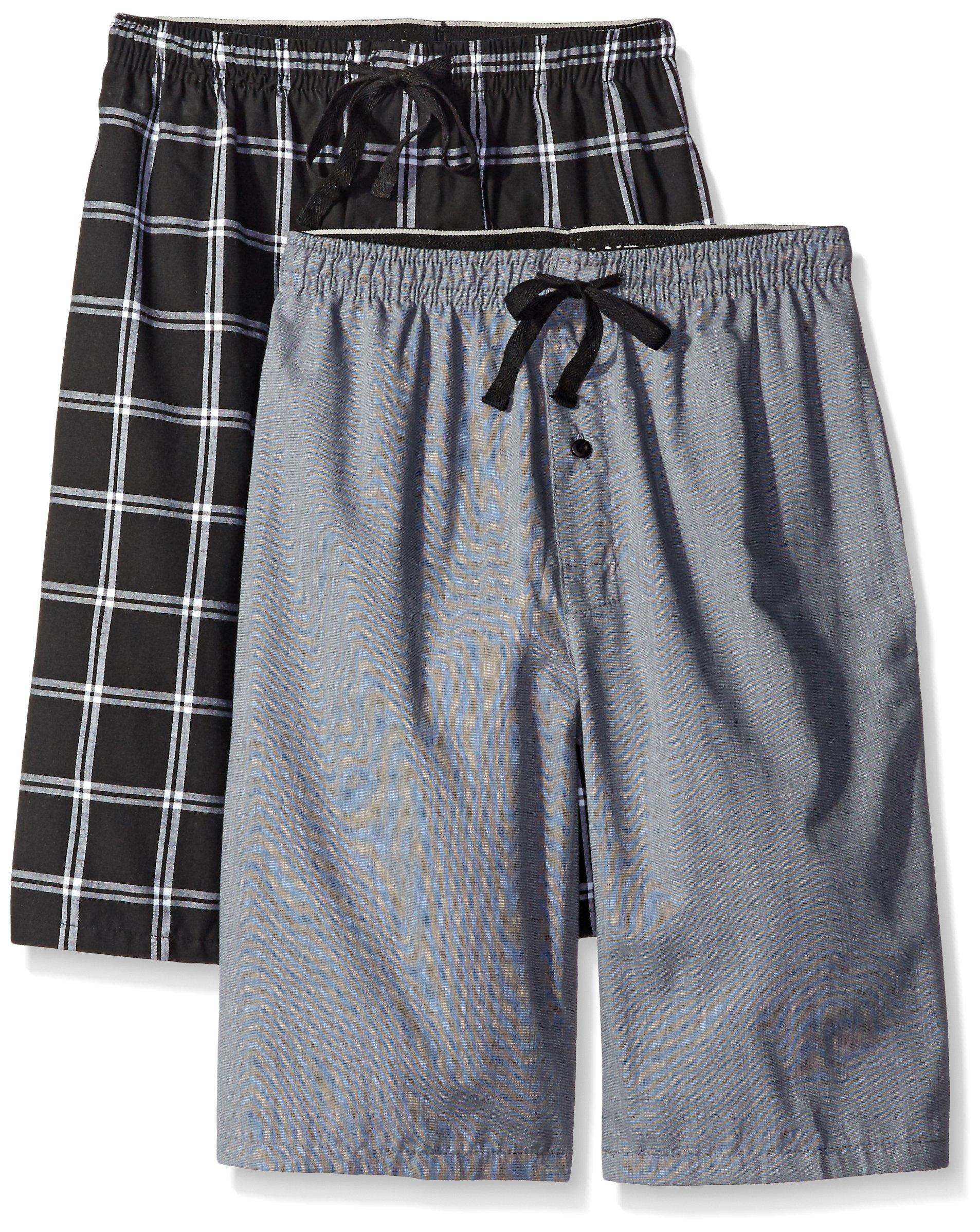 Hanes Men's 2-Pack Woven Pajama Short, Black/Grey, XX-Large