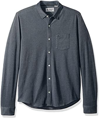Original Penguin Mens Long Sleeve Knit Button Down