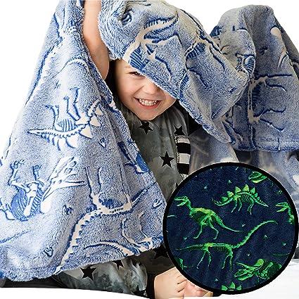 101 cm x 152 cm manta gris para ni/ñas y ni/ños Manta de franela con dinosaurios en la oscuridad que brillan en la oscuridad