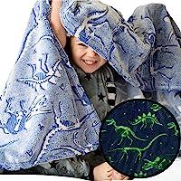 Dinosaur Blanket Glow in the Dark Luminous Dino Blanket for Kids - Soft Plush Blue T-Rex Blanket Throw For Boys and Girls - Large 60in x 50in Glowing Jurassic Dinosaur Fossil Dino Bones Blankets