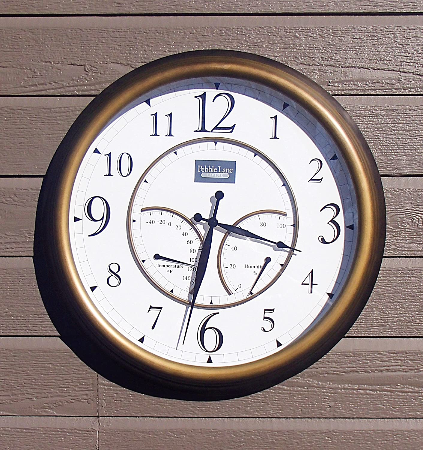 Amazon oxford outdoor clock with thermometer garden outdoor 24 large outdoor wall clock waterproof with temperature and humidity bronze amipublicfo Images