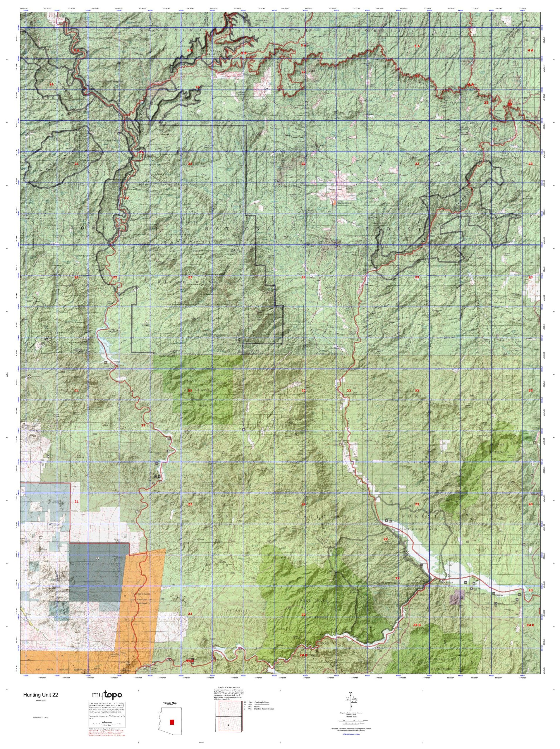 Map Of Unit 22 Arizona.Hunting Unit 22 Western State Hunt Area Maps Az 22