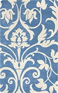 Rizzy Home Marianna Fields Collection Wool Area Rug, 9' x 12', Blue/Khaki Ornamental