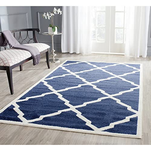 Safavieh Amherst Collection AMT421P Geometric Trellis Area Rug, 5 x 8 , Navy Beige
