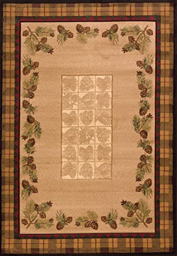 United Weavers of America Designer Contours Collection Winter Pines Rug, 7-Feet 10-Inch by 10-Feet 6-Inch, Toffee