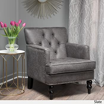 Herres Slate Grey Microfiber Club Chair with Nailhead Accents