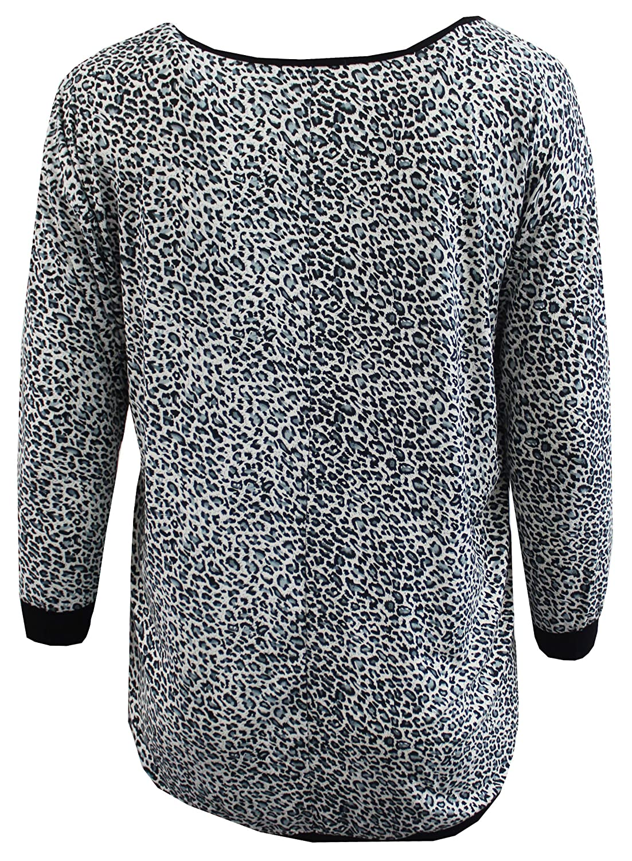 fbbb244ab36b7 Amazon.com  Womens Plus Size Leopard Animal Print Knit Sweater Blouse Tee  Shirt Top 1X-3X  Clothing