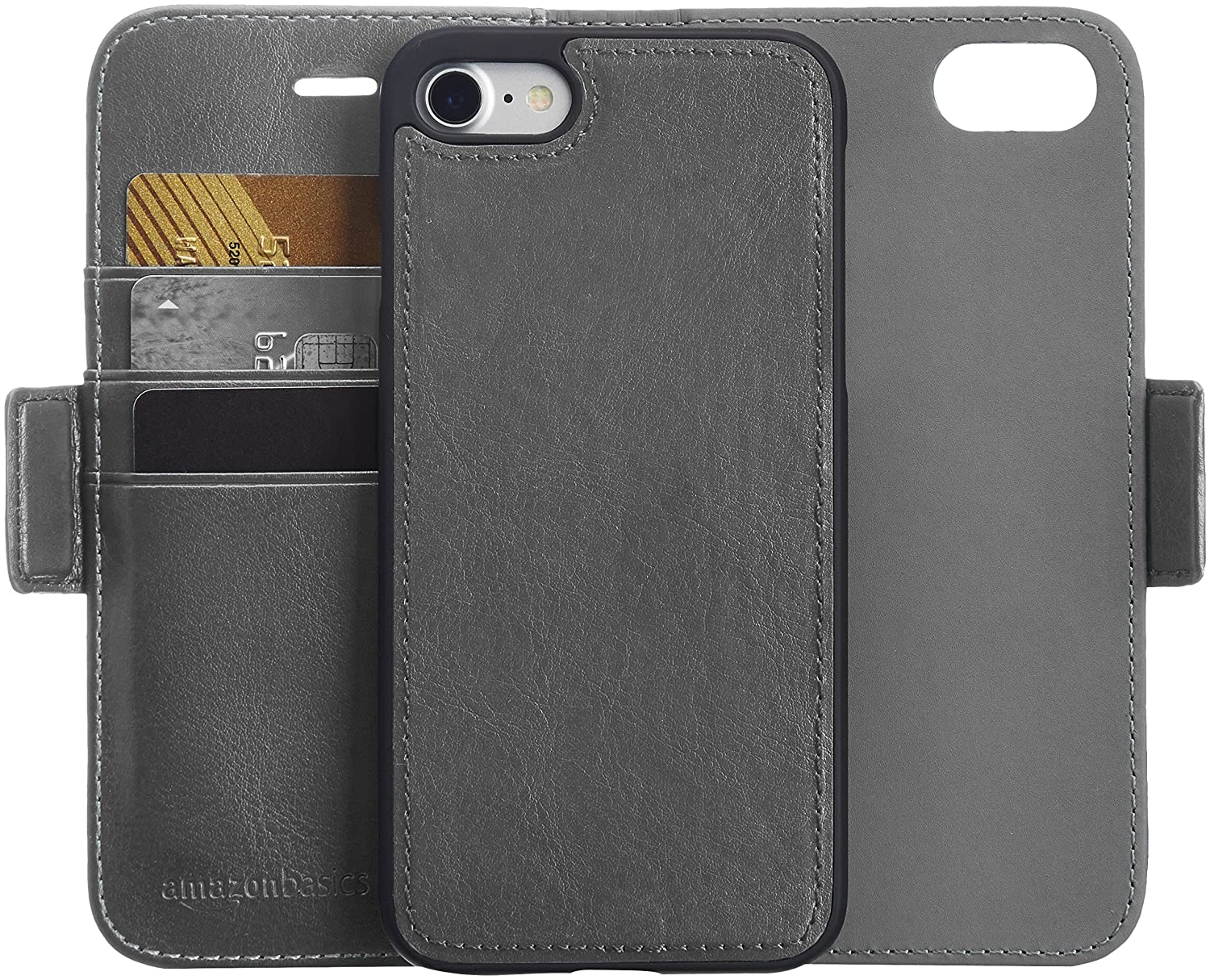 AmazonBasics iPhone 8/7 PU Leather Wallet Detachable Mobile Cover, Dark Grey