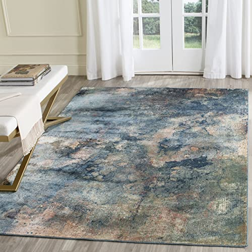Safavieh Constellation Vintage Collection CNV765-2220 Abstract Watercolor Light Blue and Multi Viscose Area Rug 8 x 11 2