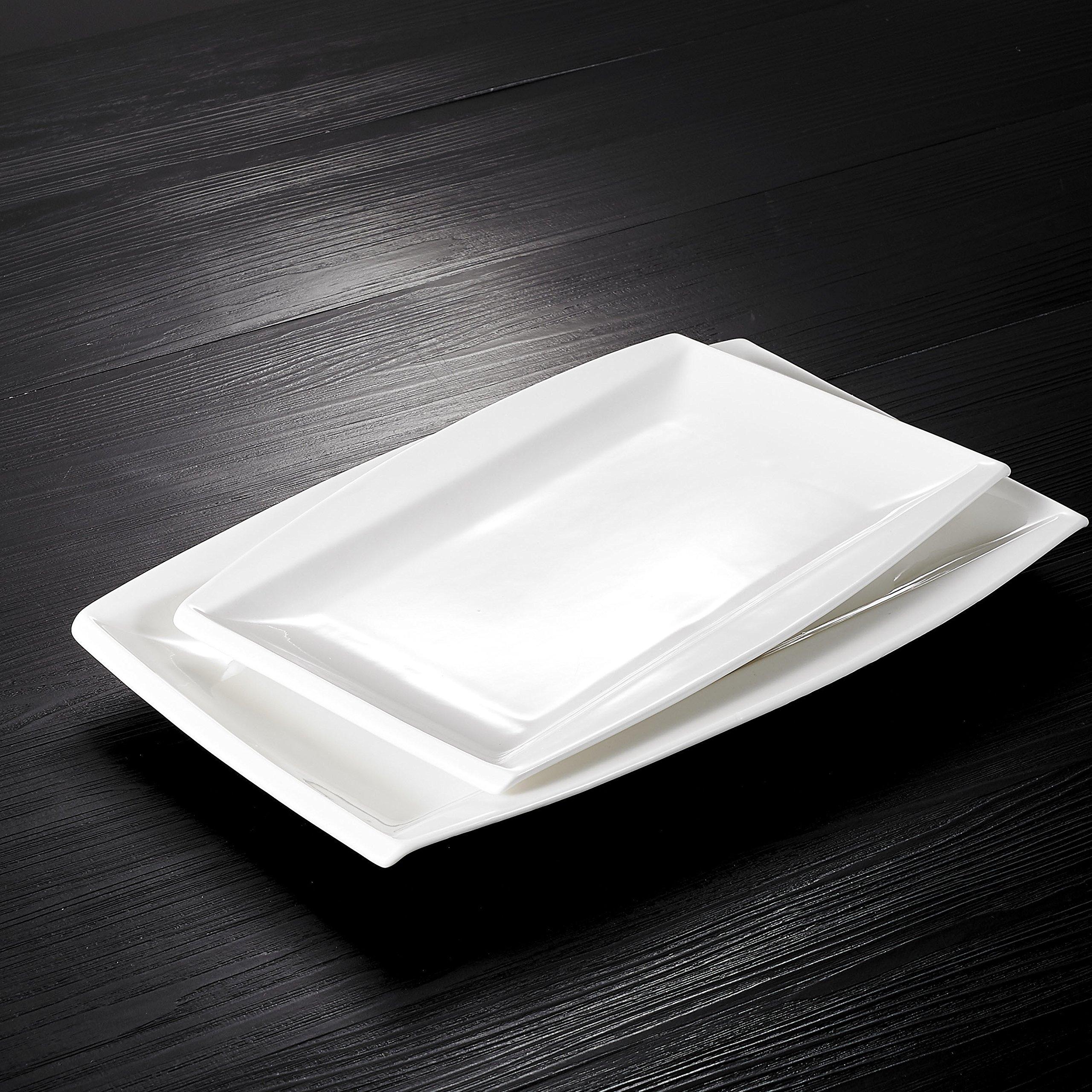 Malacasa, Series Blance, 2-Piece Ivory White Porcelain Dinnerware Set, 11'' & 13.25'' Rectangular Plates Serving Platters