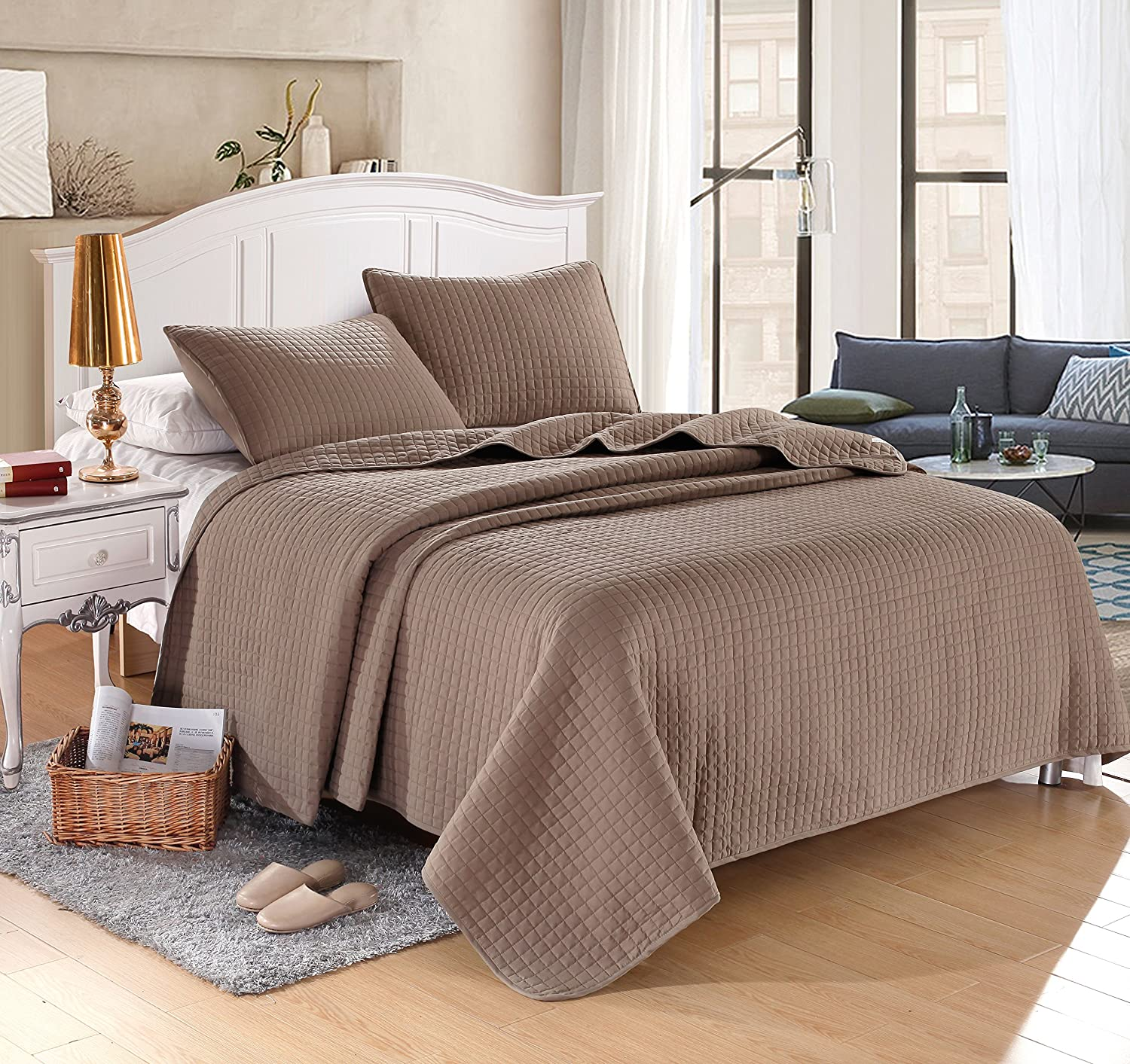 (King (96x102), Taupe) KING TAUPE Solid colour Quilted Bedspread Coverlet(96