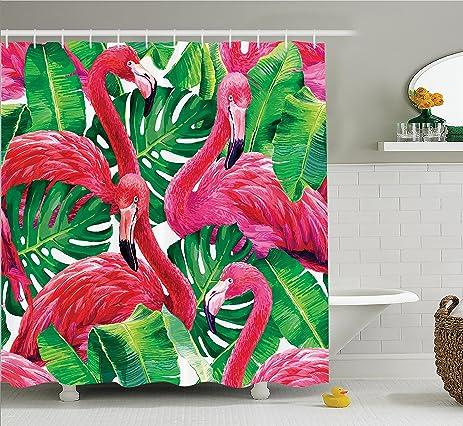 flamingo decor shower curtain set by ambesonne elegant flamingos sitting on macro tropic exotic leaves