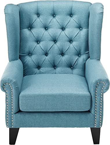 Modway Dock Mid-Century Modern Upholstered Fabric Accent Arm Lounge Chair in Azure