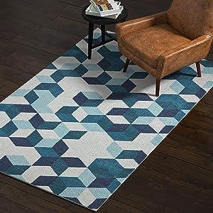 Amazon Brand – Rivet Modern Abstract Geometric Area Rug, 5 x 8 Foot, Blue