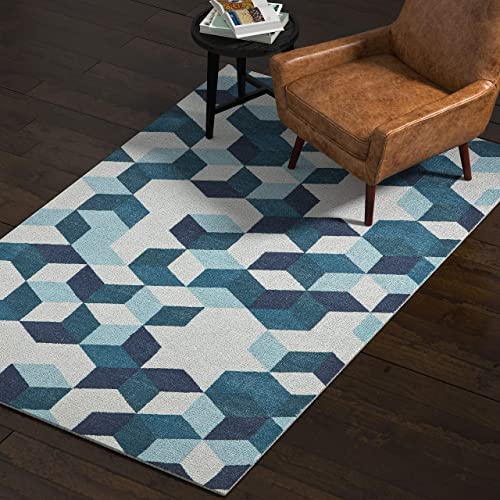Rivet Modern Abstract Geometric Area Rug, 5 x 8 Foot, Blue