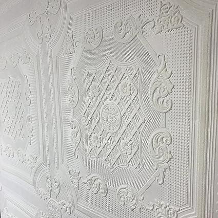 10m Slavyanski Vinyl Wallpaper Double Rolls Anaglypta Patern Textured Roll Solid White Paintable Modern Victorian Faux