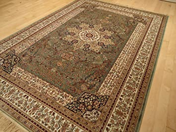 Luxury Green Rug Silk Traditional Persian Isfahan Area Rugs Dining Room 5x7