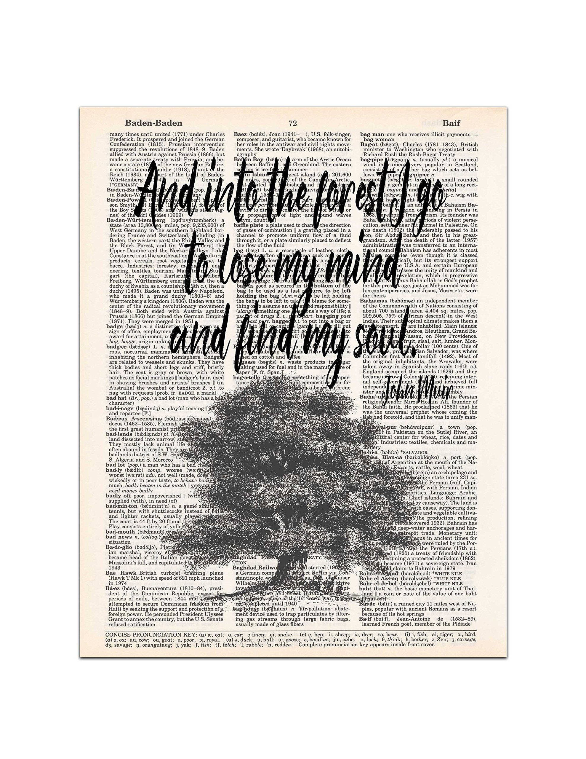 Into the Forest, John Muir Nature Quote, Dictionary Page Art Print, 8x11 UNFRAMED by Waterstone Creations