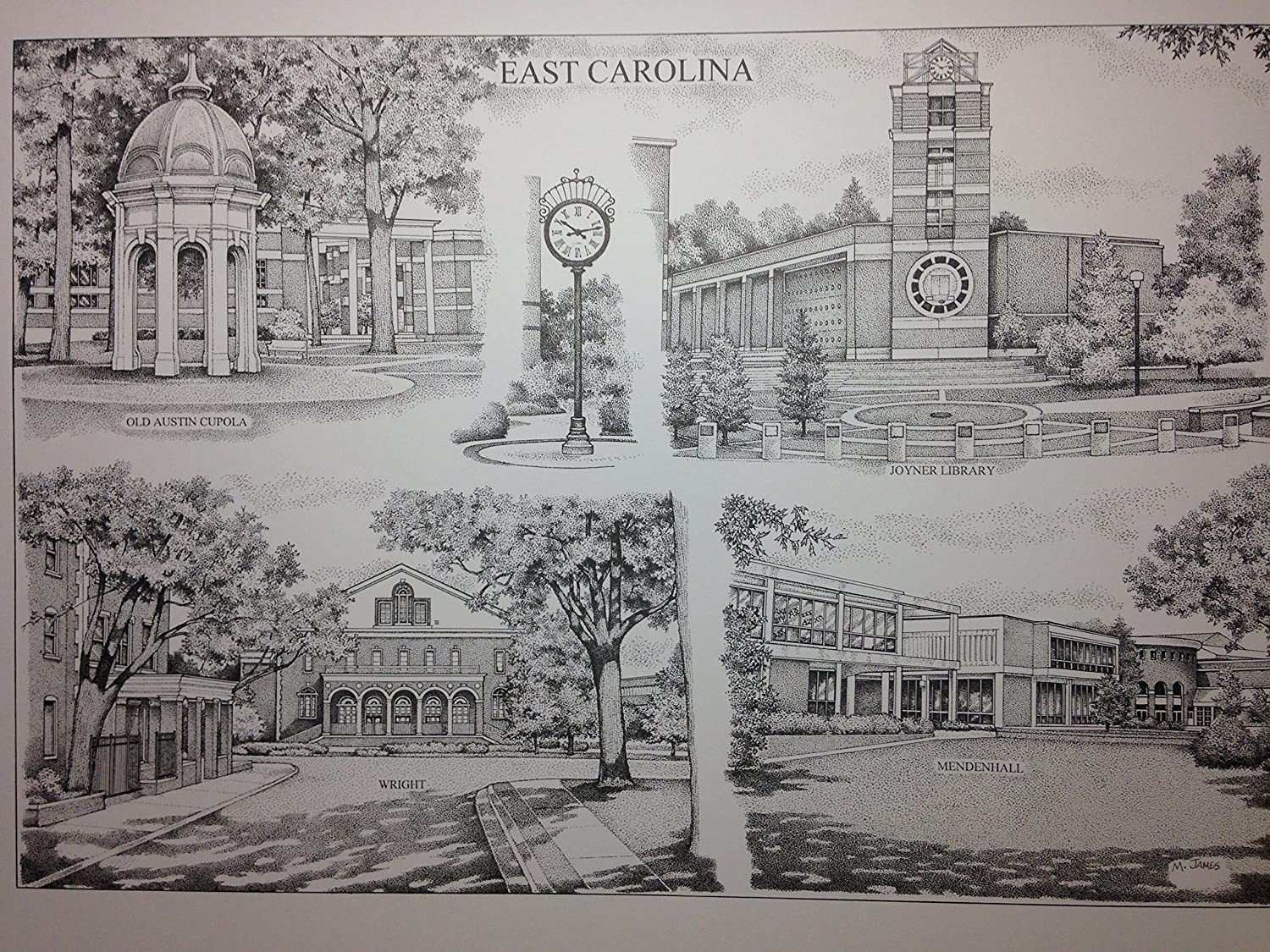 East Carolina 16x20 pen and ink collage print