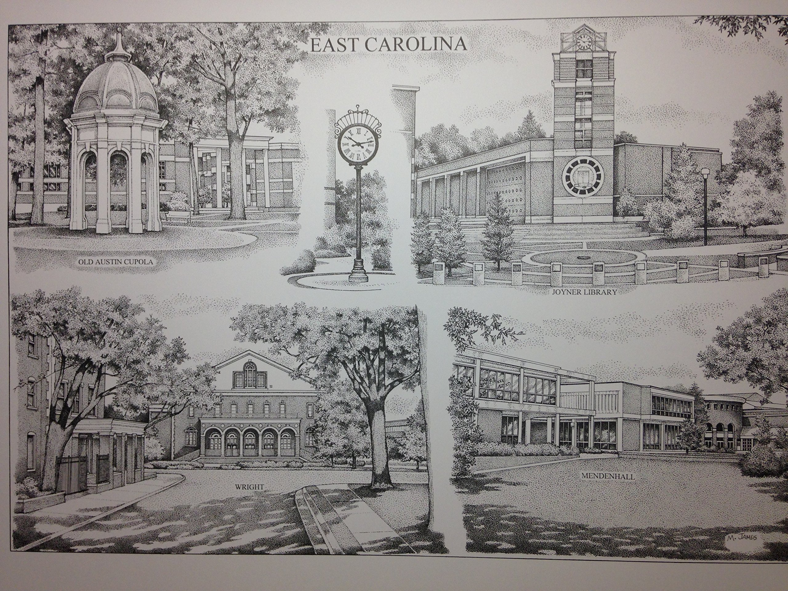 East Carolina 16''x20'' pen and ink collage print