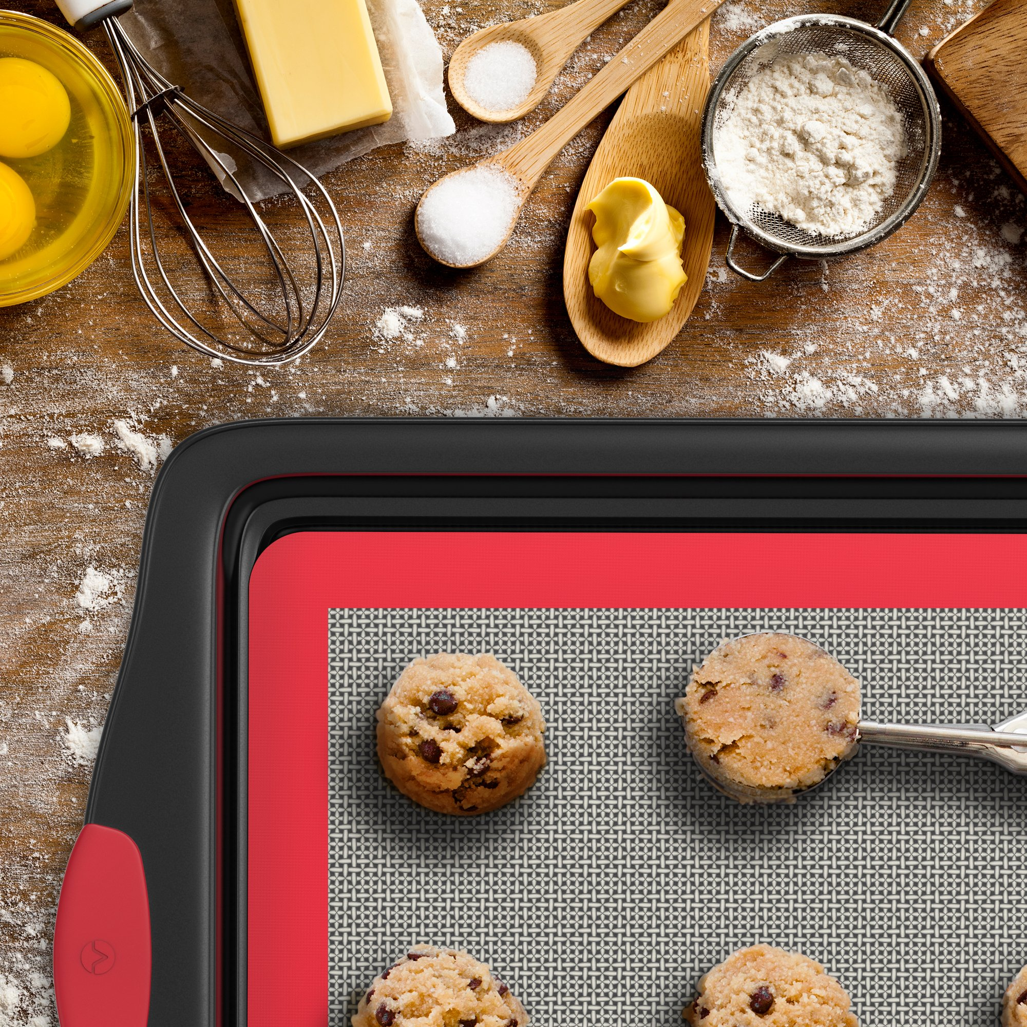 Vremi 3 Piece Baking Sheets Nonstick Set - Professional Non Stick Sheet Pan Set for Baking - Carbon Steel Baking Pans Cookie Sheets with Red Silicone Handles - has Quarter and Half Sheet Pans by Vremi (Image #6)