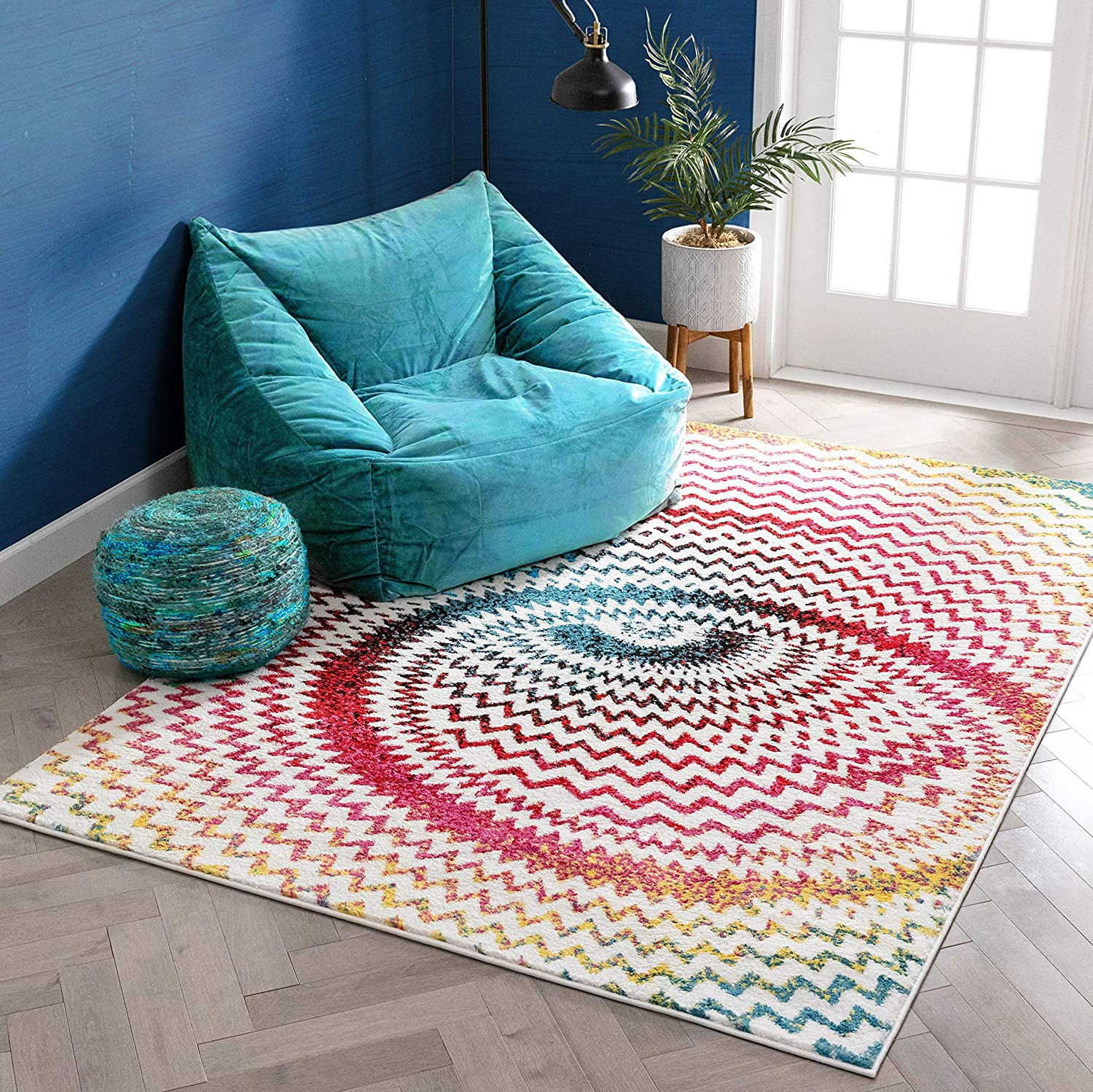 Warp Multi Chevron Red Blue Yellow Green Zigzag Modern Abstract 3d Area Rug 7 10 X 9 10 Easy Clean Stain Fade Resistant Shed Free Contemporary Geometric Thick Soft Plush Living Dining Room Home Kitchen Amazon Com