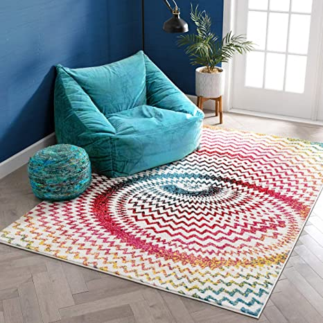 Amazon Com Warp Multi Chevron Red Blue Yellow Green Zigzag Modern Abstract 3d Area Rug 7 10 X 9 10 Easy Clean Stain Fade Resistant Shed Free Contemporary Geometric Thick Soft Plush Living Dining Room