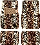 BDK Carpeted 4 Piece Mat Leopard Animal Print Auto Car Vehicle Universal Fit (Beige)