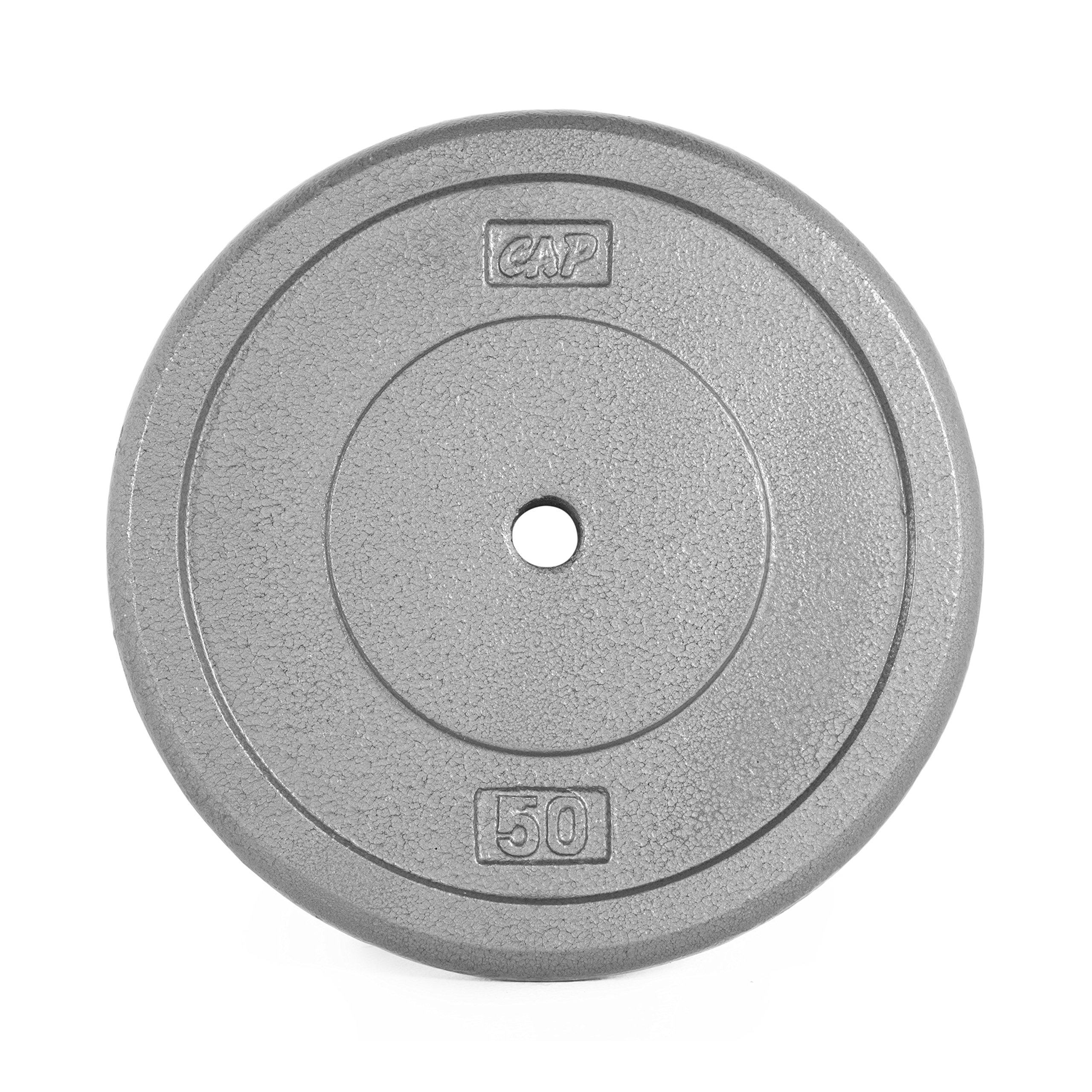 CAP Barbell Cast Iron Standard 1-Inch Weight Plates, Gray, Single, 50 Pound