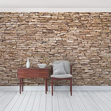 Fototapete steinwand hell  Fototapete   Steintapete Crete Stonewall - Vliestapete Querformat ...