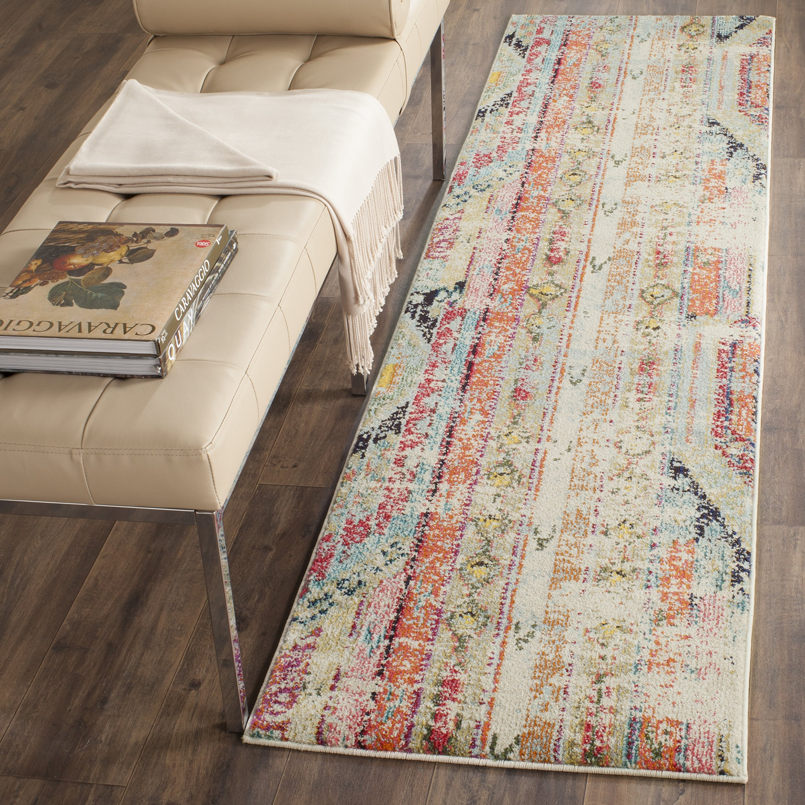 Safavieh Monaco Collection MNC222F Modern Bohemian Multicolored Distressed Runner (2'2'' x 6')