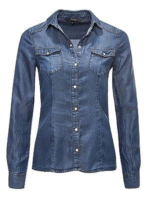 4e416a030f78ec VERO MODA Damen Jeansbluse Langarmbluse Hemdbluse Denim Medium Blue Denim XS
