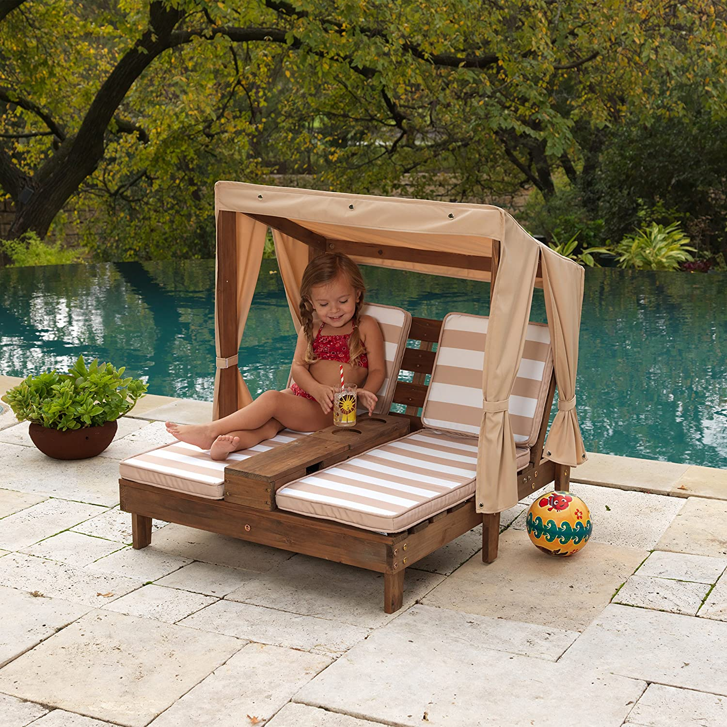 Amazon.com: KidKraft Double Chaise Lounge With Cup Holders: Toys U0026 Games