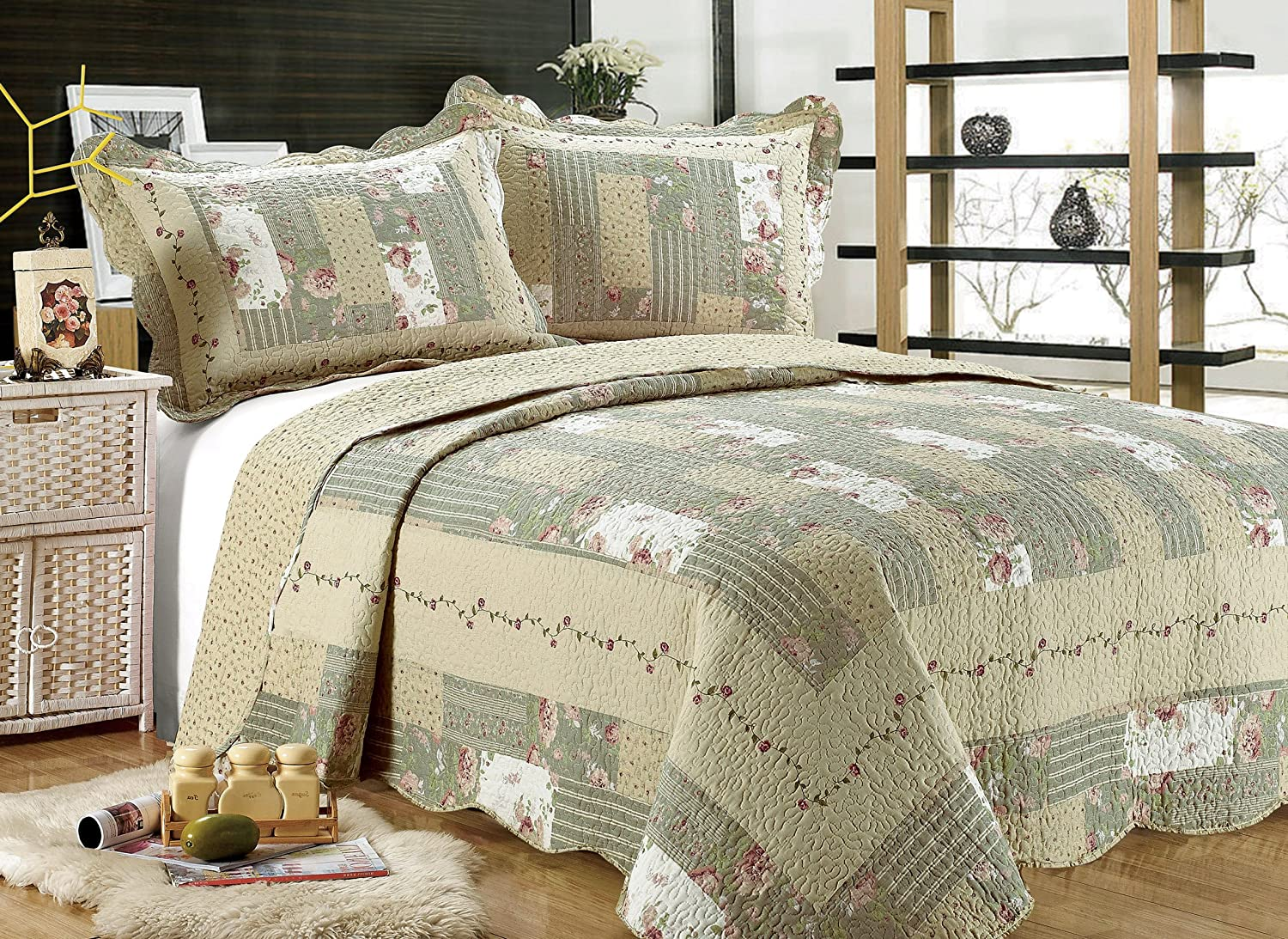 3-piece Reversible Bedspread/ Coverlet / Quilt Set-beige, pink, burgundy and sage green prints