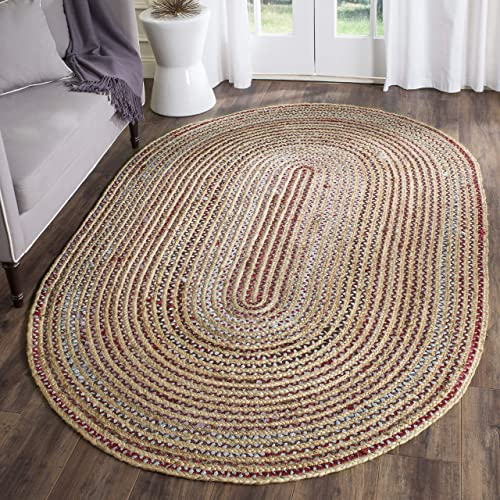Safavieh Cape Cod Collection CAP251A Hand Woven Natural and Multicolored Jute Oval Area Rug 4' x 6'