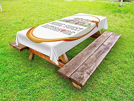 Amazoncom Ambesonne Home Sweet Home Outdoor Tablecloth Embroidery - Picnic table trailer